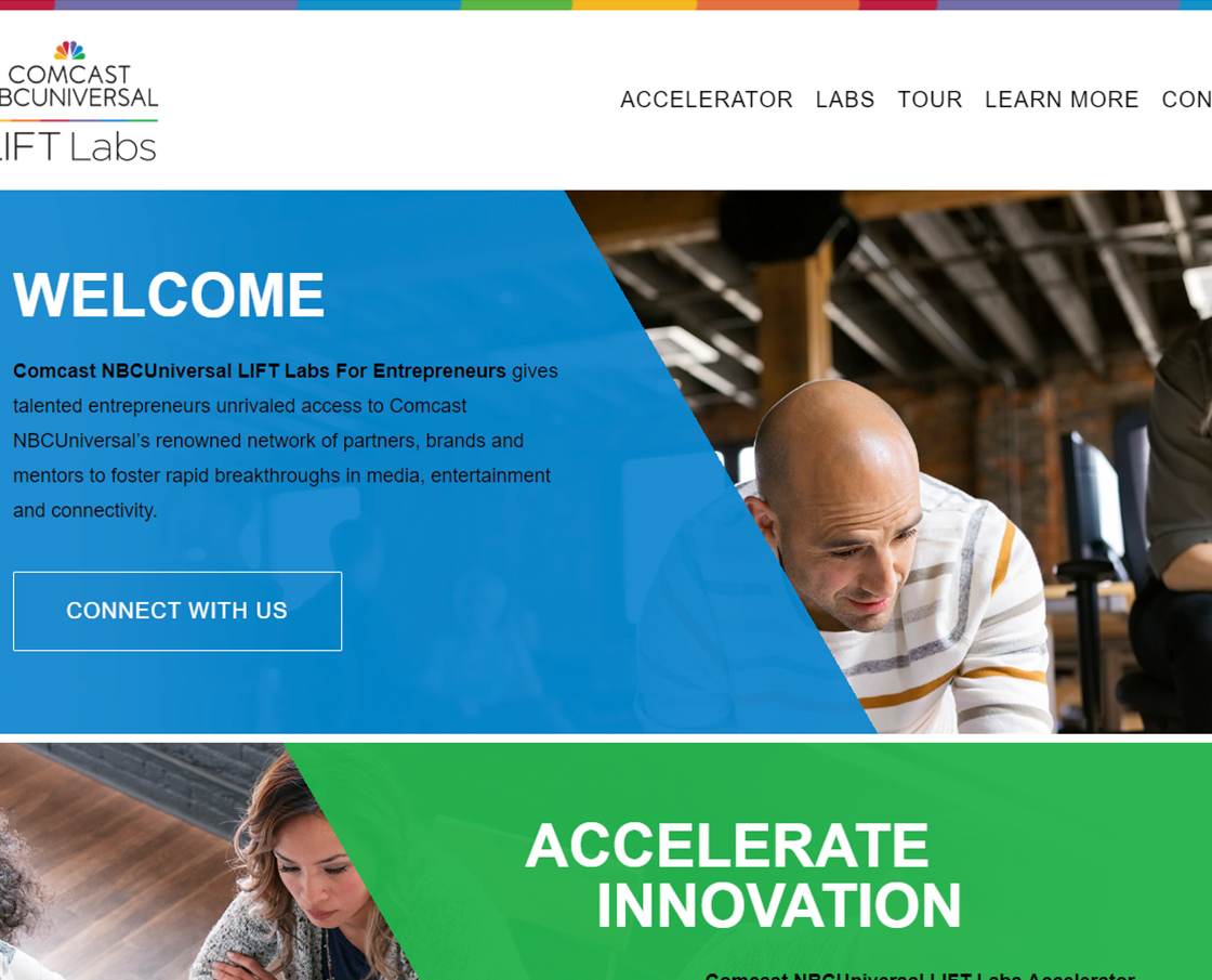 Comcast NBCUniversal LIFT Labs Landing Page